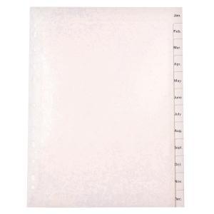 Marbig Dividers Polypropylene A4 White Jan-Dec 12 Tab