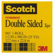 Scotch Permanent Double Sided Tape 665 12.7mm X 22.8m