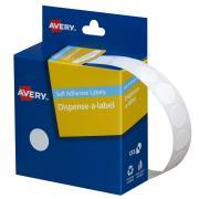 Avery White Circle Dispenser Labels - 14mm diameter - 1200 Labels - Hand writable