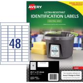 Avery Ultra Resistant Outdoor Labels L7911 45.7x21.2mm White 48 Per Sheet