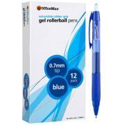 Officemax Blue Gel Pen 0.7mm Rubber Grip Box Of 12