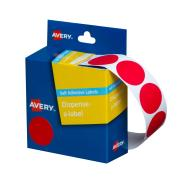 Avery Circle Dispenser Labels 24mm Diameter Red 500 Labels