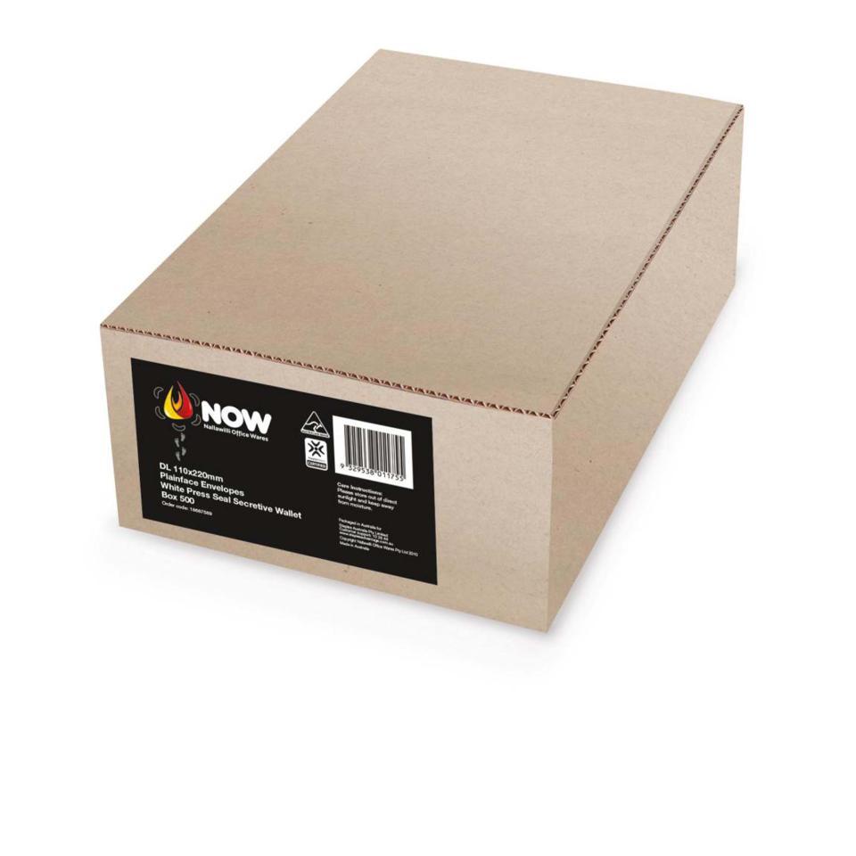Nallawilli Envelope DL Plainface Wallet Press Seal White 110 x 220mm Box 500