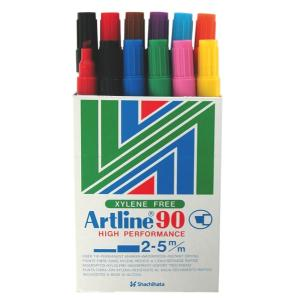 Artline 90 Permanent Marker Chisel Tip 2.0-5.0mm Assorted Colours Box 12