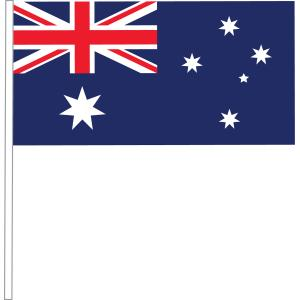 Australian Handwaver Paper Flag 300x150mm With Plastic Stick Pack 50