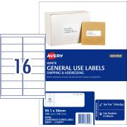 Avery General Use Labels - 99.1 x 34mm - 1600 Labels (L7162GU)