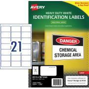 Avery White Heavy Duty Labels for Laser Printers - 63.5 x 38.1mm - 525 Labels (L7060)