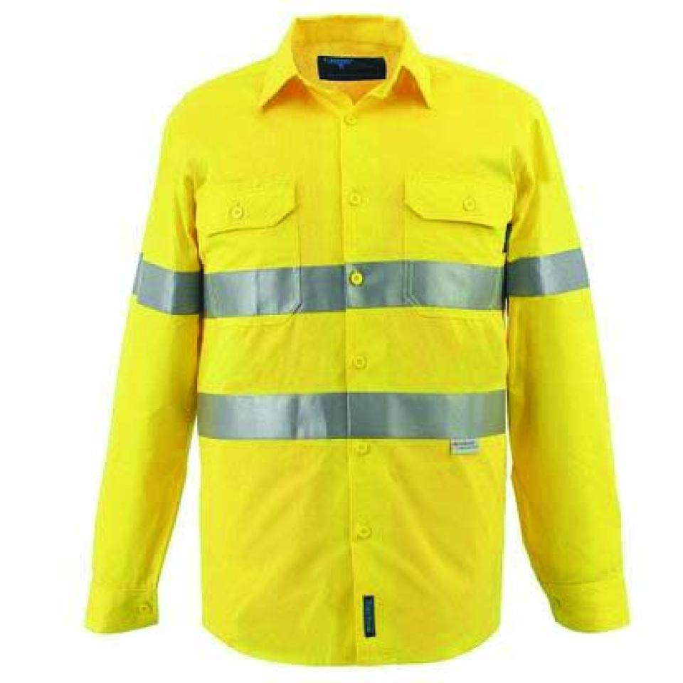 Prime Mover WWL3001A 100% Cotton High Visibility Long Sleeve Drill Shirt With Tape