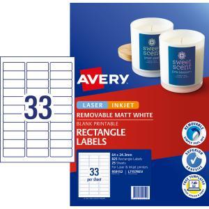 Avery Removable Multi-purpose Labels - 64 x 24.3mm - 825 Labels (L7157REV)