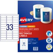 Avery Removable Multi-purpose Labels - 64 x 24.3mm - 825 Labels (L7157REV)