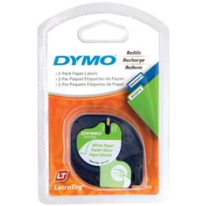 Dymo Letratag Label Printer Paper Tape 12mm X 4m White 2 Pack