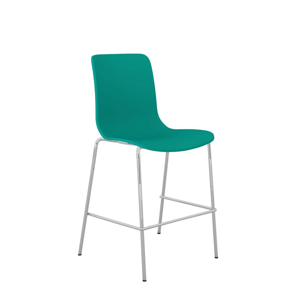 Acti Low Stool With Chrome 4 Leg Frame and Foot Rail Teal