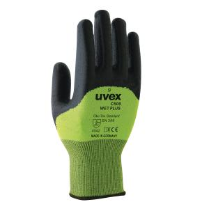 Uvex Hx60496 C500 Gloves Wet Plus Cut 5 Hpe Palm Coated Lime Size 10 Pair