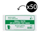 EPI Degradable Kitchen Tidy Bags 540X450mm 15 Litre White Roll 50