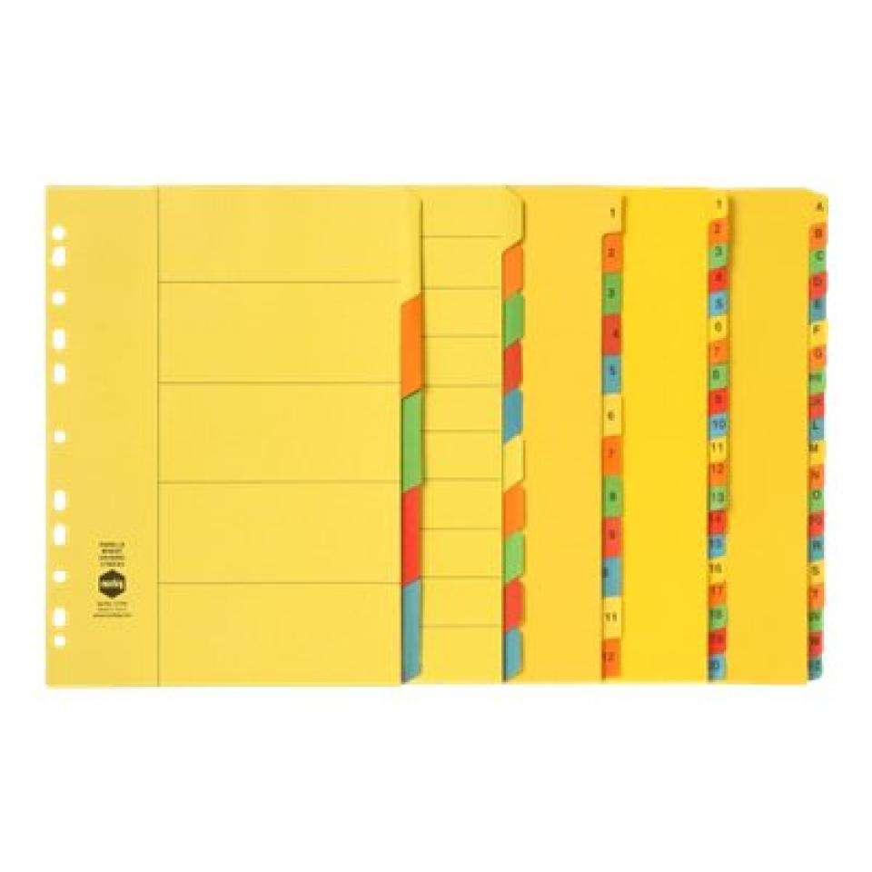 Marbig Dividers Manilla A4 Bright Colours A-Z 20 Tab