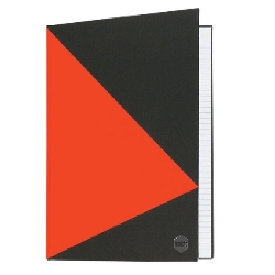 Marbig A4 Hardcover Notebook Ruled Blackred 200 Pages