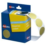 Avery Gold Circle Dispenser Labels - 24mm diameter - 250 Labels