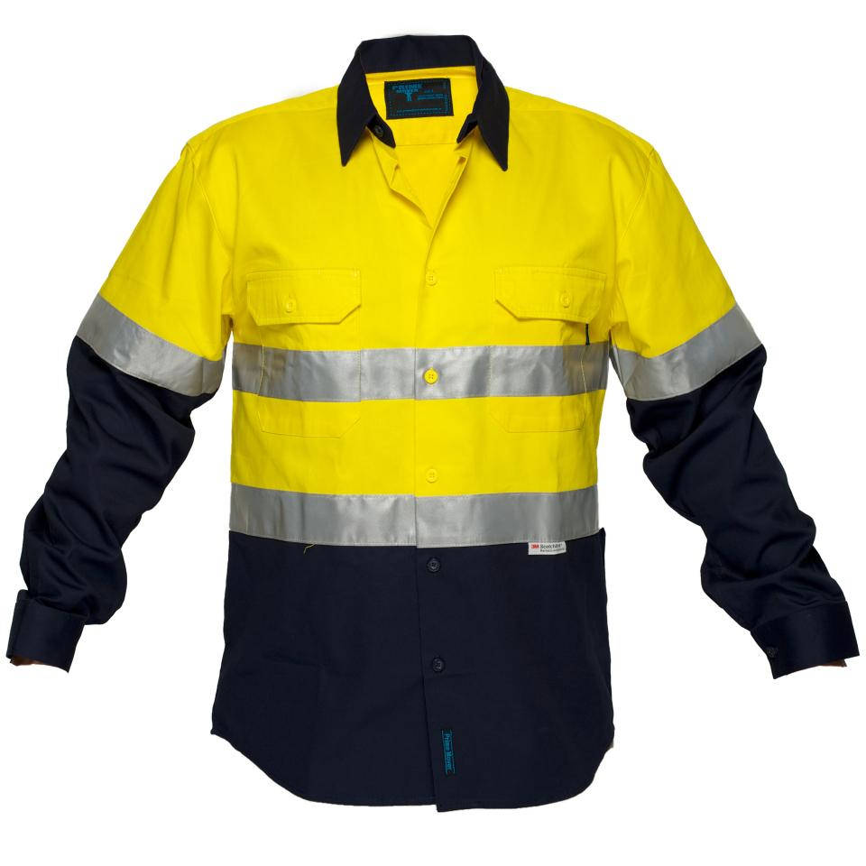 Prime Mover WWNC1001A 100% Cotton High Visibility Drill Shirt With Tape with Long Sleeves