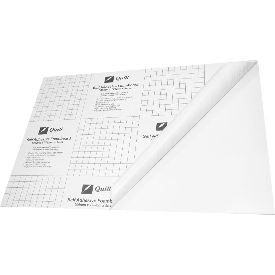 Quill Self-Adhesive Foamboard White 500X770mm