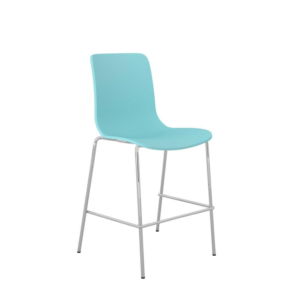 Acti Low Stool with Chrome 4 Leg Frame and Foot Rail Pale Blue
