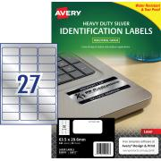 Avery Silver Heavy Duty Labels for Laser Printers - 63.5 x 29.6mm - 540 Labels (L6011)