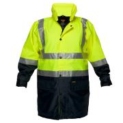 Prime Mover HV208 Fleecy Lined Hi Vis Rain Jacket with 3M Tape Day/Night - Assorted Colours