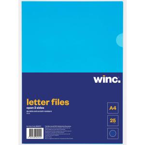 Winc Letter File A4 Open 2 Sides Blue Pack 25