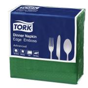 Tork Dinner Napkin Edge Emboss 2 Ply Quarterfold 390X390mm Green Pack 100