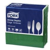 Tork Dinner Napkin Edge Emboss 2 Ply Quarterfold 390X390mm Green Pack 100