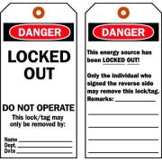 Brady Danger Lock Out Tags Polyester 66067 Pk 25