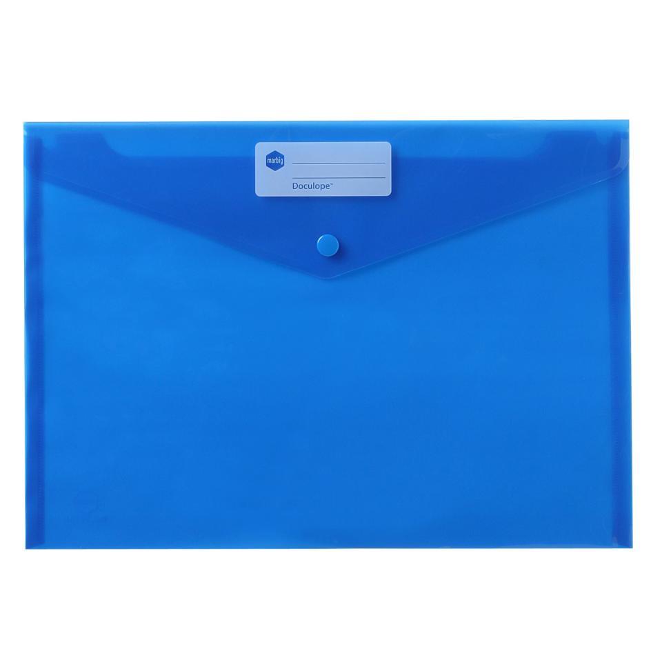 Marbig Envelope Document Holder A4 Button Blue Pack 10