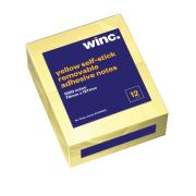 Winc Self-Stick Removable Notes 76X127mm Yellow Pack 12