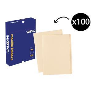 Winc Manilla Folder A4 Buff Box 100