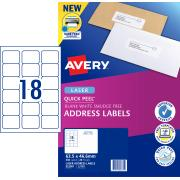 Avery Address Labels with Quick Peel for Laser Printers - 63.5 x 46.6mm - 360 Labels (L7161)