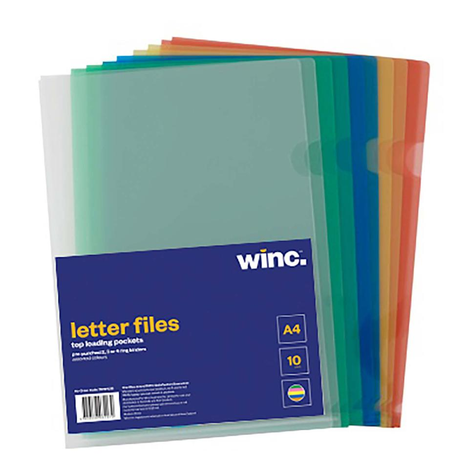 Winc Letter File A4 Clear Assorted Colour Pack 10