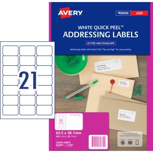 avery address labels with quick peel for laser printers 63 5 x