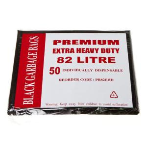 Austar Bin Liners Premium Extra Heavy Duty 82 Litre Black Packet 50 Carton 200