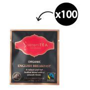 SereniTEA Organic & Fairtrade English Breakfast Enveloped Pyramid Tea Bags Pack 100