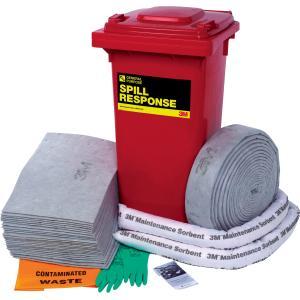 3m General Purpose Spill Kit Wheelie Bin 130 Litre Capacity