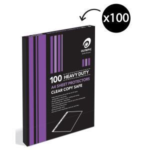 Olympic Sheet Protectors A4 11 Hole H/Duty Box 100 141764