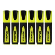 Officemax Yellow Desk Style Highlighters Chisel Tip Pack Of 6