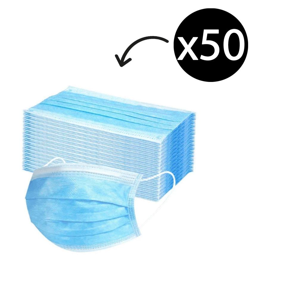 Face Mask Non sterile Disposable 3 Ply Non Woven with Earloop Box 50