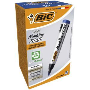 Bic Marking 2000 Ecolutions Permanent Marker Tank Bullet Blue Box 12
