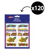 Avery Merit and Reward Stickers Caption Shapes 18 x 30 mm Pack 120