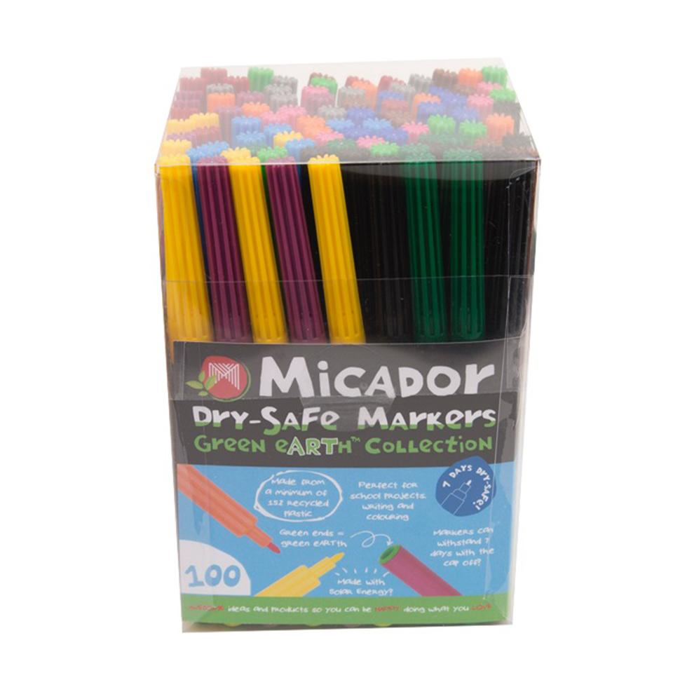 Micador Dry-Safe Coloured Markers Assorted Tub 100