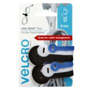 VELCRO Brand One Wrap Ties Assorted Colours & Sizes 6 Pieces
