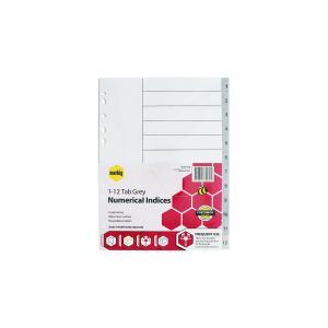 Marbig A4 Dividers Plastic 1-12 Tab Grey