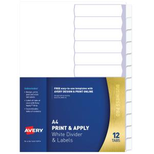 Avery Print & Apply Label Dividers - White - 12 Tabs - IndexMaker (L7455-12)