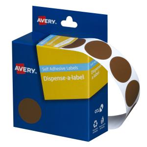 Avery Brown Circle Dispenser Labels - 24mm diameter - 500 Labels
