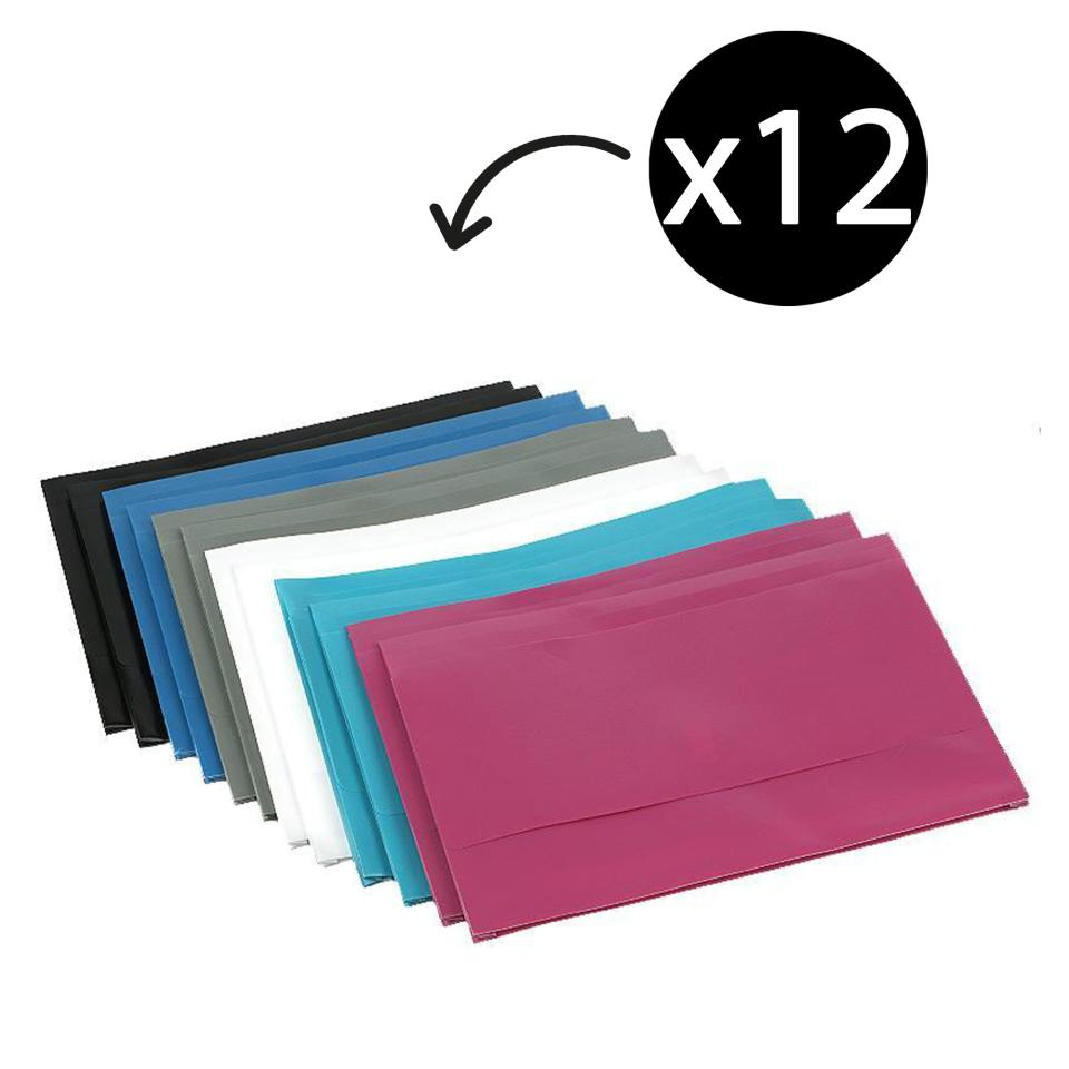 Winc Document Wallet Polypropylene Foolscap Opaque Hook Loop Light Assorted Pack 12